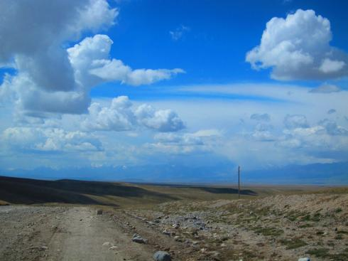The rough road but beautiful landscape out of Kyrgyz military control zone