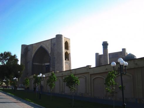 First glimpse of the Bib-Khanym Mosque, Samarqand