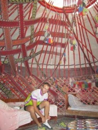 Cory inside our yurt - Nukus