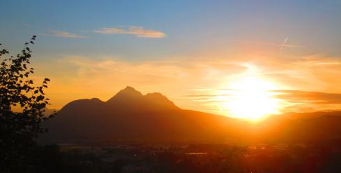 Sunset to the west of Salzburg