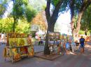Open-air art galleries in the Cathedral Square, Odessa