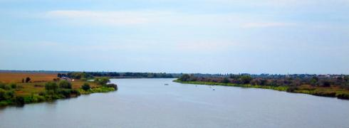 The Dnister river - looking at towards the break-away republic of Transnistria