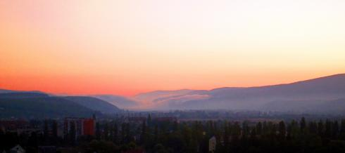 Morning mist rolling down the Carpathians - from Uzhgorod
