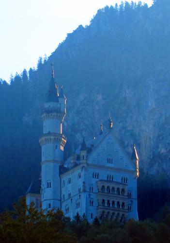 First light on the turrets of Neuschwanstein
