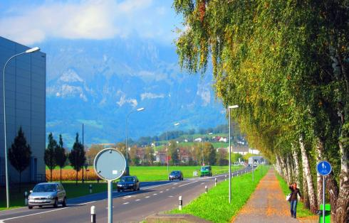 Ahead is Switzerland - during my 15 minutes in Liechtenstein