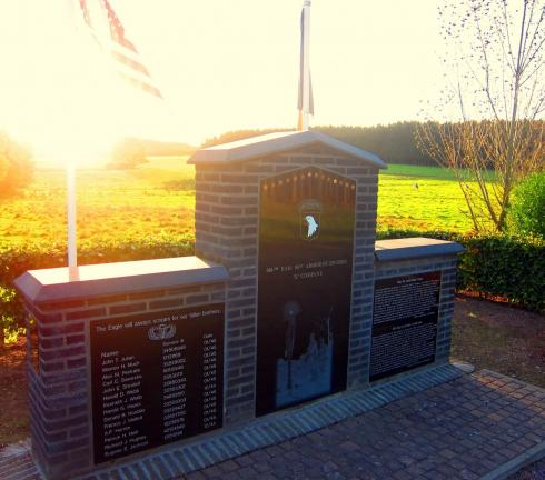 "Memorial to ""E"" Company, 516th P.I.R., 101st Airborne Division, just outside the Bois Jacques"